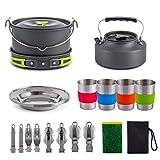 Kit De Batterie De Cuisine De Camping AméLioré De 22 PièCes pour 2 à 4 Personnes, Contient La Vaisselle La Plus ComplèTe pour Le Camping, La Cuisine