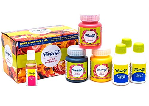 Pidilite Fevicryl Fluid Acrylic Pouring DIY Kit & Acrylic Colours