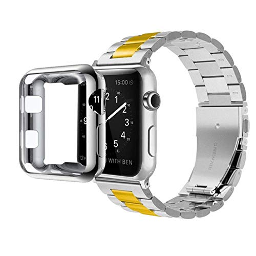 For Apple Watch Band Series 4 40mm 44mm Stainless Steel Bracelet Wrist Strap with TPU Soft Case Cover for iWatch 2/3 38mm 42mm