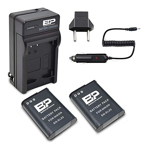 BP 2 Pack of EN-EL23 Batteries and 1 - Battery Charger for Nikon Coolpix B700, P900, P600, P610, S810c Digital Camera