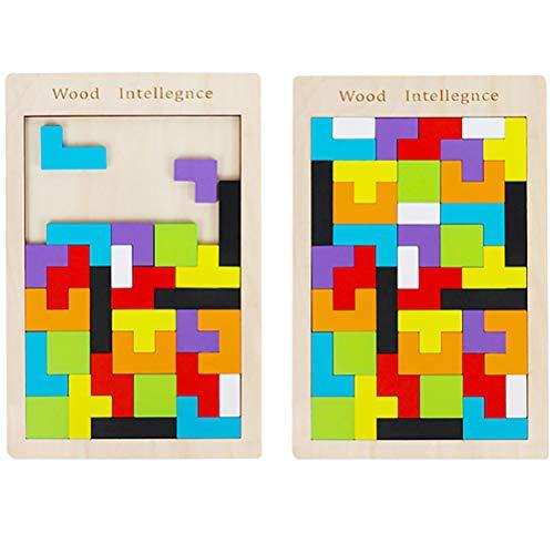 Opplei Houten Tetris puzzel 2 stuks dobbelstenen hout puzzel spel intelligent Tetris Burr puzzel speelgoed Brain Teasers speelgoed magie Early educatief blok speelgoed voor kinderen en volwassenen