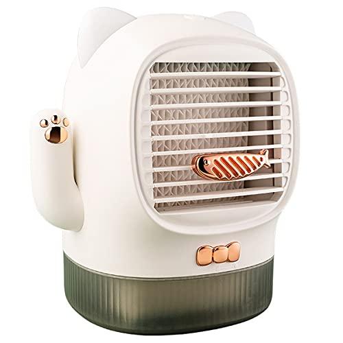 Ventilador de aire acondicionado portátil, enfriador de aire de espacio personal, mini enfriador evaporativo, ventilador de escritorio silencioso, ventilador de nebulización humidificador