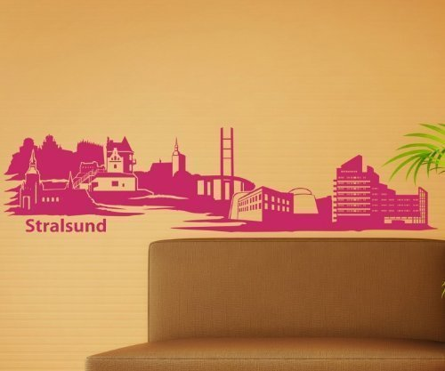 Wandtattoo Stralsund Skyline XXL Aufkleber Wandsticker Deutschland Stadt 1M181, Farbe:Königsblau Matt;Größe ( Länge):100 cm