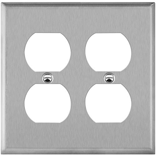 ENERLITES Double Duplex Receptacle Metal Wall Plate, Socket Outlet Switch Cover, Corrosive Resistant, Size 2-Gang 4.50