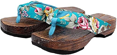 Sandalias japonesas Cosplay Zuecos Zapatos Japonés Zuecos de Madera Sandalias Mujeres-Azul_6