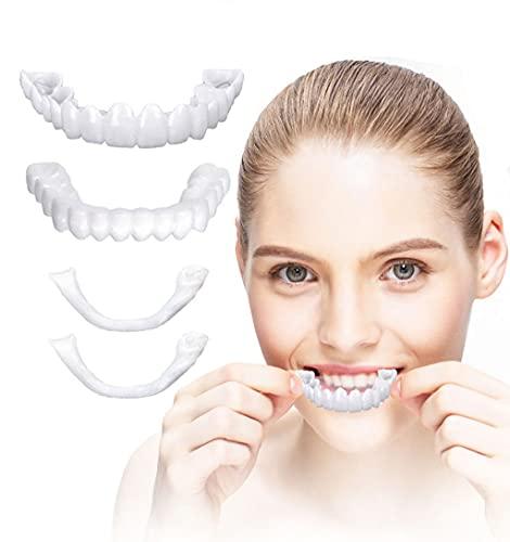 Dygzh Cosmetic Teeth Confortable Chapa Cubierta, Sonrisa Instantánea Reutilizable Dentales Temporales Frenos Superior Y Inferior, para Adultos, 6 Pares