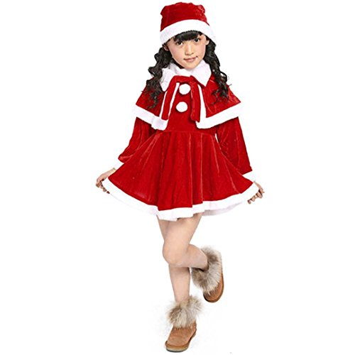 Hirolan Weihnachten Babykleidung Kleinkind Kinder Lange Ärmel Miniröcke Baby Mädchenkleider Patchwork Weihnachtsmann Kostüm Bowknot Party Kleider + Schal + Hut Baumwolle Outfit (130, Rot)