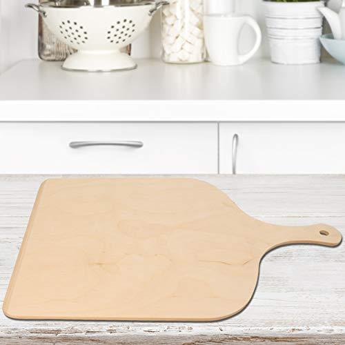 REPLOOD Pala para pizza XL - Bandeja de madera de abedul de 50 x 37 cm con mango - Versión grande para hornear pizzas