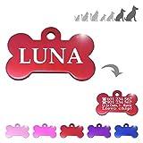 Iberiagifts - Hueso para Mascotas Muy Grandes XL Placa Chapa Medalla de identificación Personalizada para Collar Perro Gato Mascota grabada (Rojo)