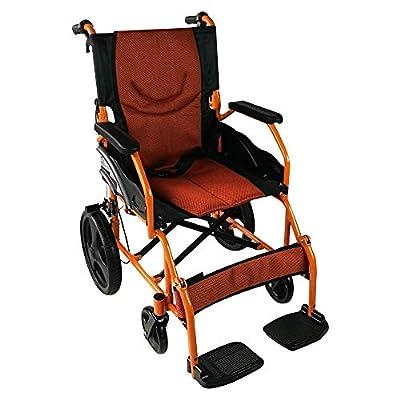 Silla de ruedas ortopédica, asiento de 46 cm, para minuválidos, plegable, de aluminio, freno en manetas, reposapiés, reposabrazos, color naranja