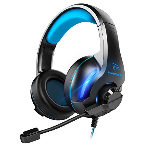 YINSAN Xbox One Headset, Gaming Headset PS4 Headset Surround Stereo Gaming Kopfhörer mit Mikrofon und LED Licht, kompatibel mit PC / PS4 / Xbox One/Switch (USB Verlängerungskabel enthalten), Blau