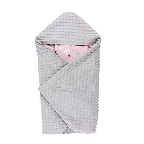 TupTam Einschlagdecke 5 Punkt Gurt für Babyschale - Sommer, Farbe: Sterne Rosa Dunkelblau/Hellgrau,...