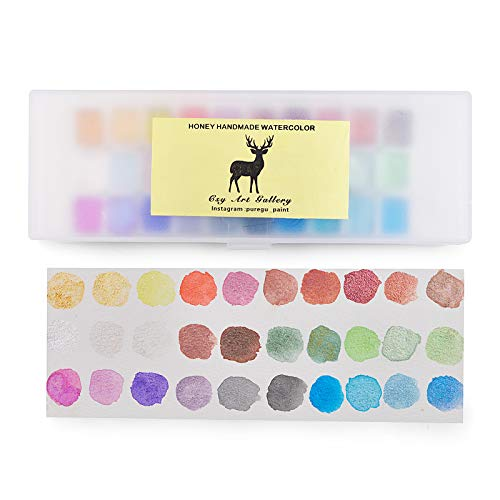 Germany Handmade Diamond Watercolor Paint Set, 30 Colors Metallic Solid Quarter Pans Watercolour Palette Nail Art Pearlescent Water Color Calligraphy Illustrations Ink Hand Lettering Art Supplies