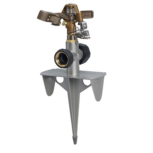 Orbit 3 Pack Brass Impulse Yard Sprinkler on Hose-End Spike Base - Large Area Watering Head - Water Your Entire Lawn