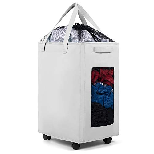 Collapsible Laundry Basket with Wheels, White - Large, Rolling Laundry Cart with Breathable Mesh Side Panels - Premium, Foldable Laundry Hamper (White)