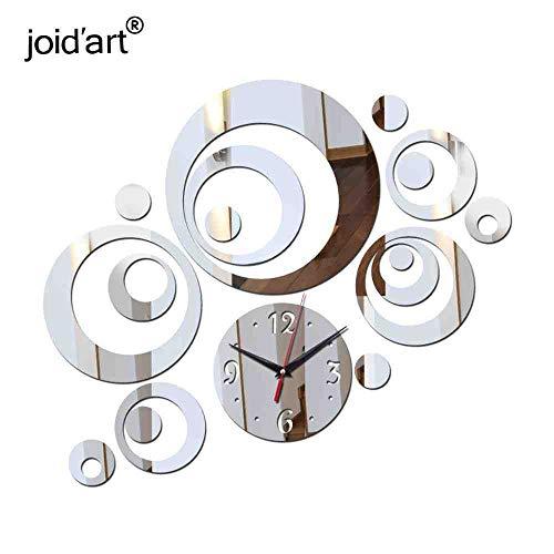 WDQTDY Reloj De Pared Wandhorloge Tijd-Beperkte Wandklok Klokken Horloge Huiskamer Quartz Naald Acryl Geometrische Stickers ZILVER