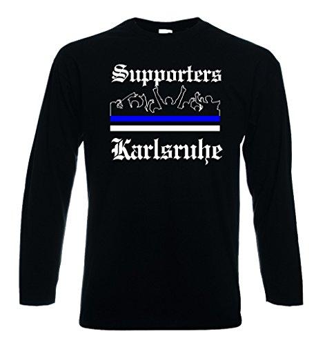 World-of-Shirt Herren Longsleeve T-Shirt Karlsruhe Ultras Supporters|M