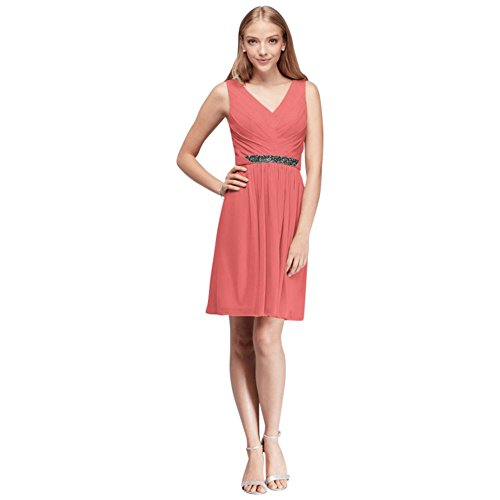 Short Mesh Bridesmaid Dress with V-Neck and Beaded Waistband Style W11174, Coral Reef, 24