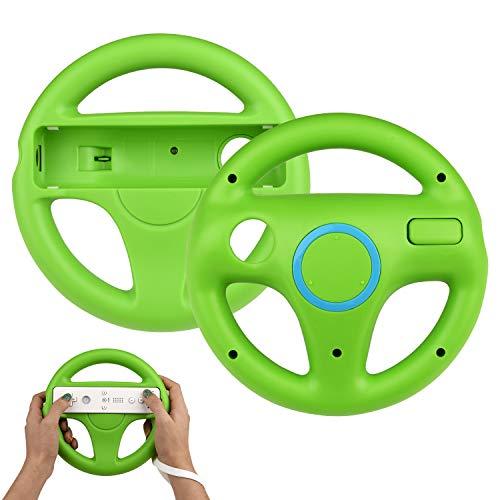 TechKen 2 STK Racing Lenkrad Wheel für Wii Fernbedienung Kompatibel mit Wii Mario Kart,Racing Wheel für Wii Mariokart Controller Kunststoff Game Lenkrad für Wii Racing Spiele