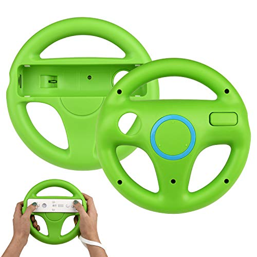 2 Stücke Wii Mario Lenkräder Wheel Controller,TechKen Wii Mario Kart Lenkrad Racing Wheel für Wii U Racing Spiele(Grün)