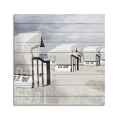 Cuadros Lifestyle Wandbild aus Holz | Holzbild | Shabby-Look | Landhaus | Strandkörbe | Vintage | Geschenk, Größe:ca. 50x50 cm