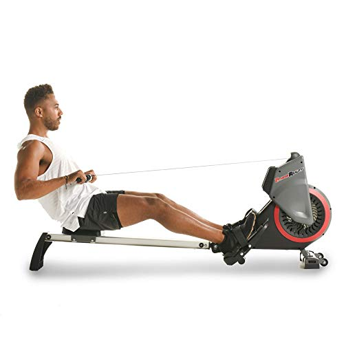 Fitness Reality Dual Transmission Fan Rower Rowing Machine with MyCloudFitness App and On Demand Coaching, Black (Renewed)
