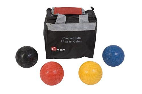 Ubergames Krocket Bälle, 473 Gramm aus Kunststoff Farben Blau - Schwarz - Gelb - Rot - in Trage Tasche - 9.2 cm offizielle Durchschnitt - Kunststoff Langlebig