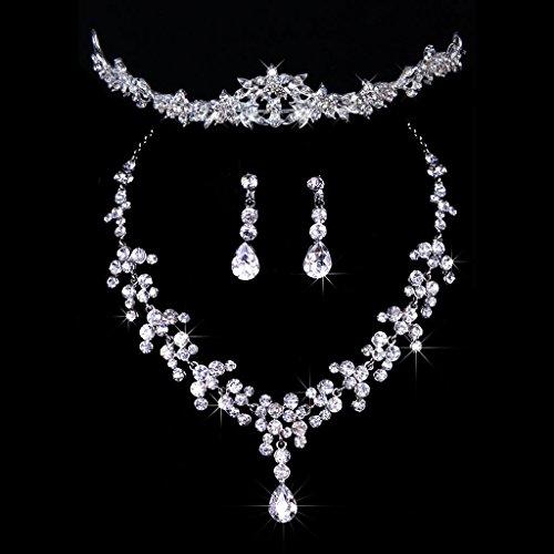 Musuntas Fashion Braut Hochzeit Schmuck Schmuckset Set Kristall Strass Tiara + Halskette + Ohrringe für Hochzeitsfest