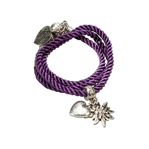 Alpenflüstern Trachten-Wickelarmband Edelweiß - Damen-Trachtenschmuck, Trachtenarmband, Kordel-Armband lila-violett DAB026