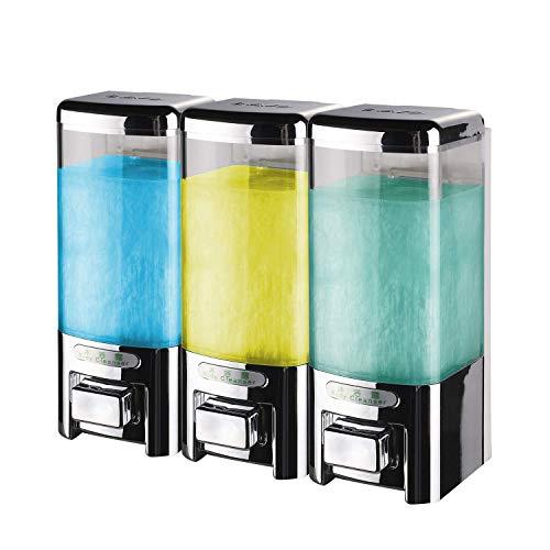 SVAVO V-8103 Triple Chambers Plastic Wall Mounted Liquid Hand Soap Dispenser for Hotel Bathroom, Chrome 500ml3 Pack of 1