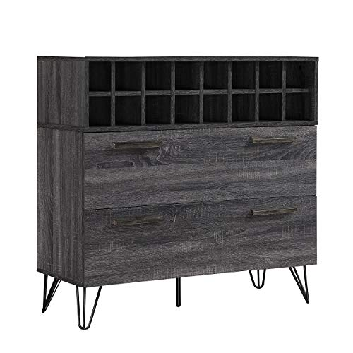 Christopher Knight Home Annabelle Mid-Century Faux Wood Wine and Bar Cabinet, Sonoma Grey Oak / Black