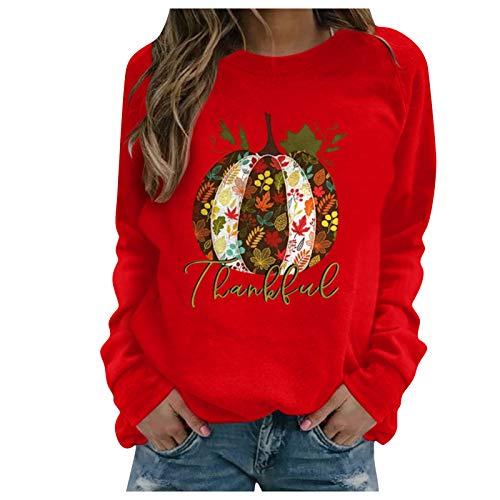 11111 Sudadera de manga larga para mujer, con estampado de Acción de Gracias, informal, con capucha, color rojo