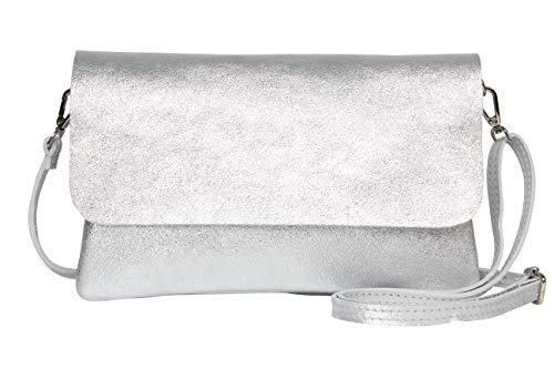 AmbraModa GLX11 - Borsa a tracolla da donna, in vera pelle, con tracolla rimovibile e regolabile, adatta per cellulari e tablet fino a 7 pollici, (argente)