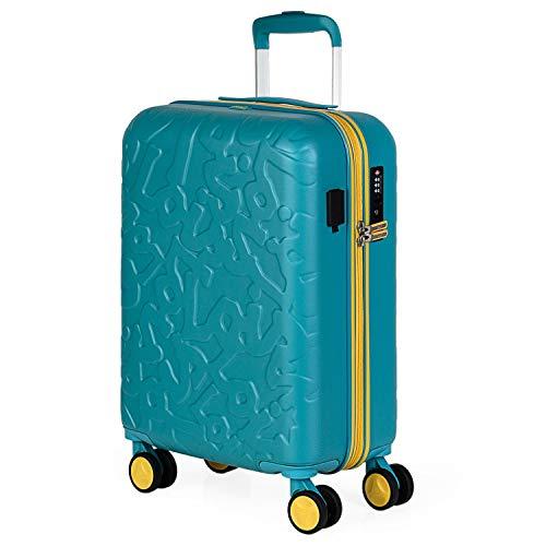 Lois - Maleta Pequeña de Cabina para Viaje. Puerto de Carga USB. 4 Ruedas Dobles Trolley 55 cm. ABS. Equipaje de Mano. Rígida, Cómoda y Ligera. Low Cost. Candado TSA. 171150, Color Aguamarina