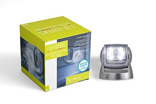 LED LOVERS LED Wandleuchte Scheinwerfer mit Bewegungssensor Silber, Aussenlicht verstellbar mit Batterie und Bewegungssensor wasserdicht, 360 Grad drehbar