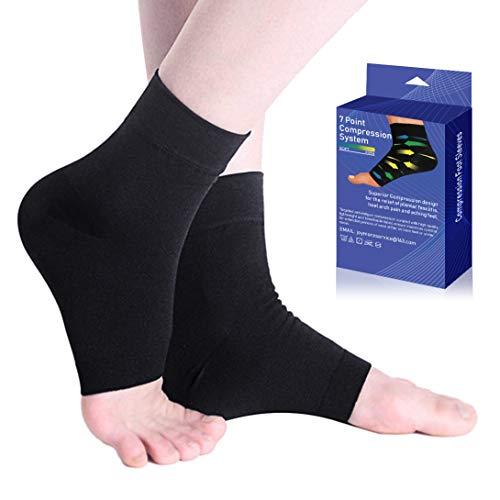 UONNER Sprunggelenkbandage Knöchelbandage Fußbandage für Herren und Damen Plantar Fasciitis Socken Kompressionssocken für Sport Fussball Fitness (Schwarz, L(22-25cm))