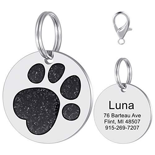 LAOKEAI Personalisierter Hunde Hundemarke mit eingraviertem Namen,Adresse und Telefonnummer Prickelnde Strass Haustier Marke aus Legierung für kleine und mittelgroße Hunde und Katzen(Schwarz)