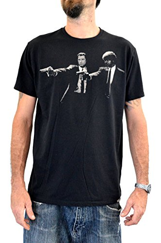 Faces T-Shirt Uomo Pulp Fiction UTR420 Stampa Serigrafica Manuale ad Acqua (L Uomo)