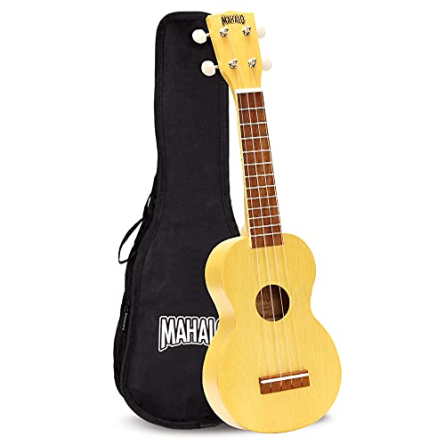 Mahalo Kahiko crema raso ukulele con copertura