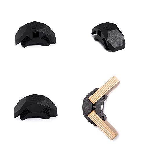PlayWood Kit de Construcción de 20 piezas en Ángulo Recto, Pinzas de Plástico con Tornillo de Acero Inoxidable, Grosor entre 16-19 mm, Ideal para Bricolaje, Estantes Modulares de Madera, (Negro)