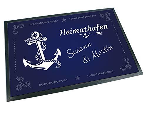 Werbetreff Gera Fußmatte Anker Heimathafen mit Name, Teppich, Schiff, Boot, Maritim, Kreuzfahrt, Meer (60 x 40 cm)
