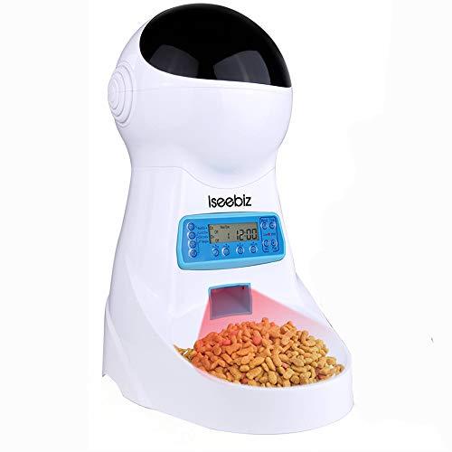 Iseebiz 自動給餌器 猫 犬 タイマー 10秒録音 自動餌やり機 えさやり 自動給餌機 オートフィーダ コードカバー付き 2WAY給電 3.5L