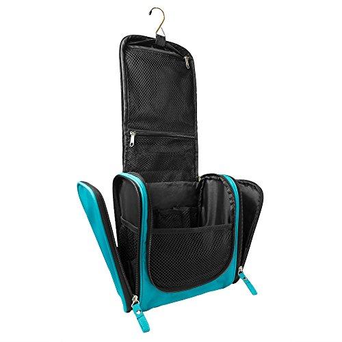Geräumiger Premium Kulturbeutel zum Aufhängen | Große Reise-Kulturtasche für Frauen & Männer | Wasserresistente Wasch-Tasche mit vielen Fächern | XXL-Kosmetiktasche mit Henkel (Türkis)