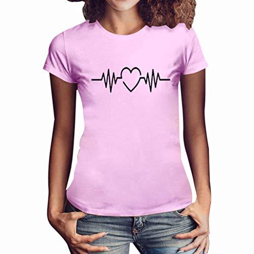Damen T Shirt, CixNy Bluse Damen Kurzarm Sommer Mode Locker Ärmelloses Herz Drucken Lässig O Hals Oberteil Tops (XL, Rosa)