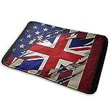 shenhaimojing Bienvenido Tapete De Entrada,Felpudo Absorbente,Interior/Exterior Alfombras De Piso,Bandera Americana Inglesa Británica 40X60CM
