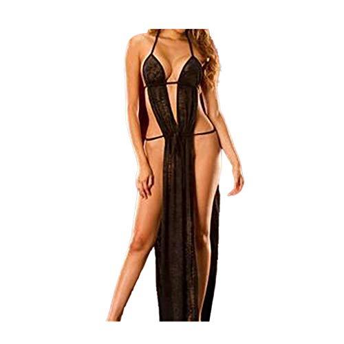 WHSHINE Damen Erotische Unterwäsche Frauen Sexy Lingerie Bandage Bodysuit Zurück öffnen Nähen Langes Rock Reizwäsche Elastische Dessous Langer Pyjama (Schwarz,L)