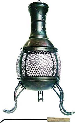 LIVIVO Chiminea Patio Heater for Wide Heat Output and Viewing Angle, Stylish Mexican-Inspired External Details, Weather and Rust-Resistant Material (89cm, Bronze)