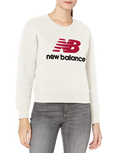 New Balance Damen Stadion Crew Neck Sweatshirt, Damen, Kapuzenpullover, Nb Athletics Stadium Crew, Meersalz, Large