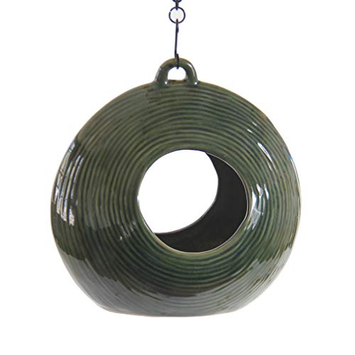 "BYER OF MAINE Circles Fly Through Bird Feeder, Stoneware, Green, 10""x10""x5"""