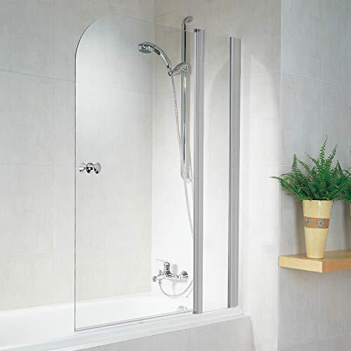 Schulte D850 01 50 3 Duschabtrennung Garant für Badewanne, 100 x 140 cm, 6 mm Sicherheitsglas Klar hell, alunatur, Montage rechts